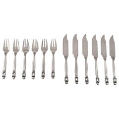 "Georg Jensen ""Acorn"" Fish Cutlery in Sterling Silver, Service for Six People"