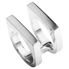 Georg Jensen Aria Silver Flat Two Band Ring