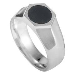Georg Jensen Art Deco Silver and Black Enamel Ring