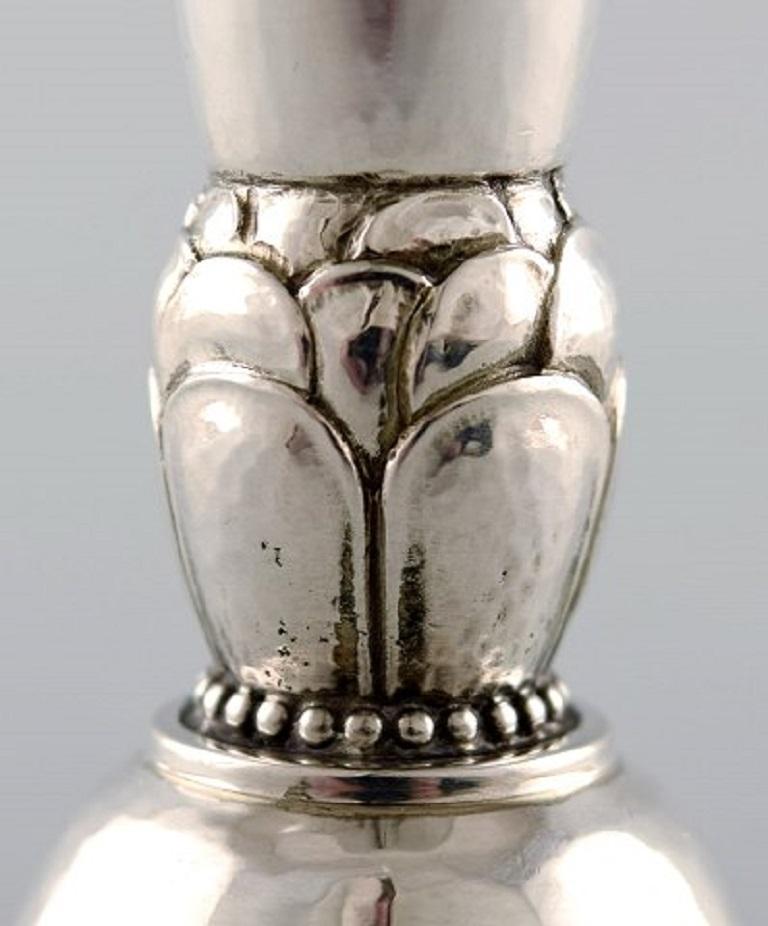 Danish Georg Jensen Art Deco Vase in Hammered Sterling Silver, 4 Pieces For Sale