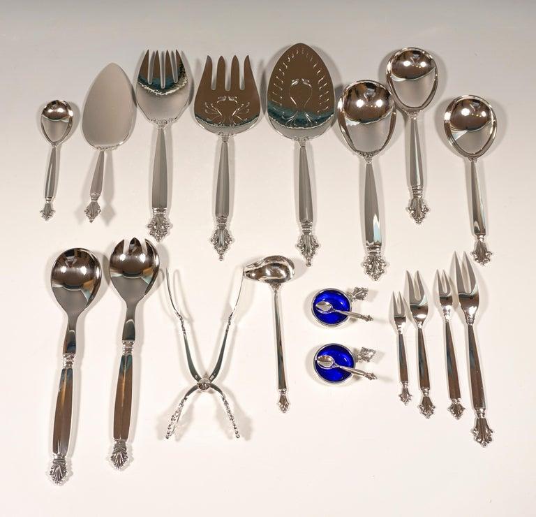 Georg Jensen Art Nouveau Silver Cutlery Set in Showcase, Design Johan Rohde 1920 For Sale 11