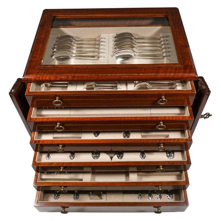 Georg Jensen Art Nouveau Silver Cutlery Set in Showcase, Design Johan Rohde 1920 For Sale