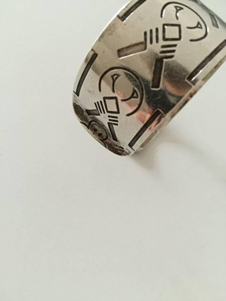 Women's or Men's Georg Jensen Bangle, Sterling Silver Wide Cuff Design with Native American Motif For Sale