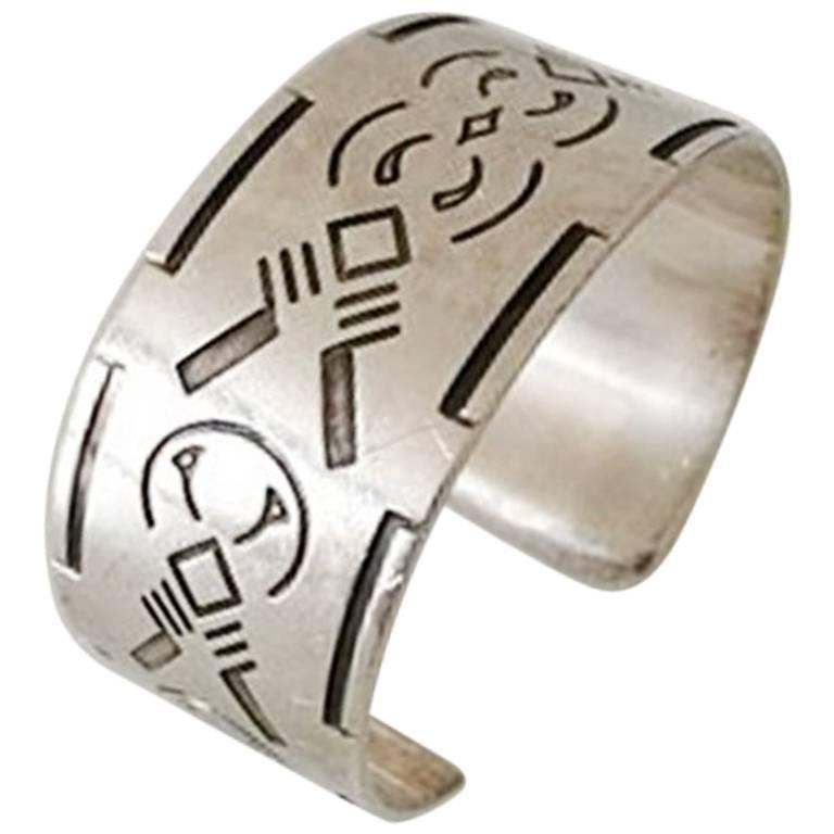 Georg Jensen Bangle, Sterling Silver Wide Cuff Design with Native American Motif For Sale