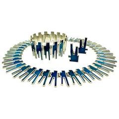 Georg Jensen Bente Bonne Silver, Enamel Necklace, Bracelet, Earrings Set, 1960s