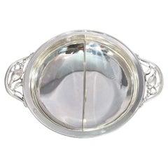 Georg Jensen Blossom Sterling Silver Divided Serving Dish Centerpiece Bowl 2D