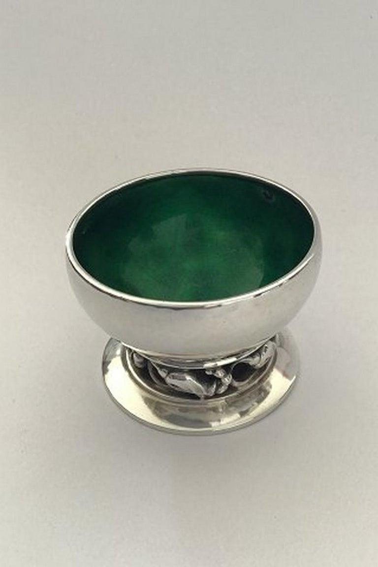 Georg Jensenblossom sterling silver salt cellar No 2A (Green)  Measures: Height 3.5 cm(1 3/8 in), diameter 5 cm(1 31/32 in) Item no.: 241952.