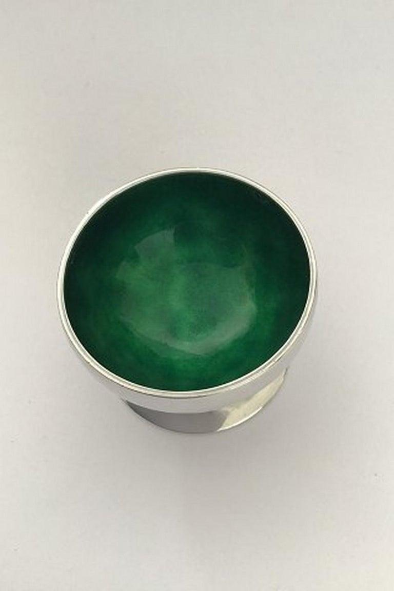 Art Nouveau Georg Jensen Blossom Sterling Silver Salt Cellar No 2A 'Green' For Sale