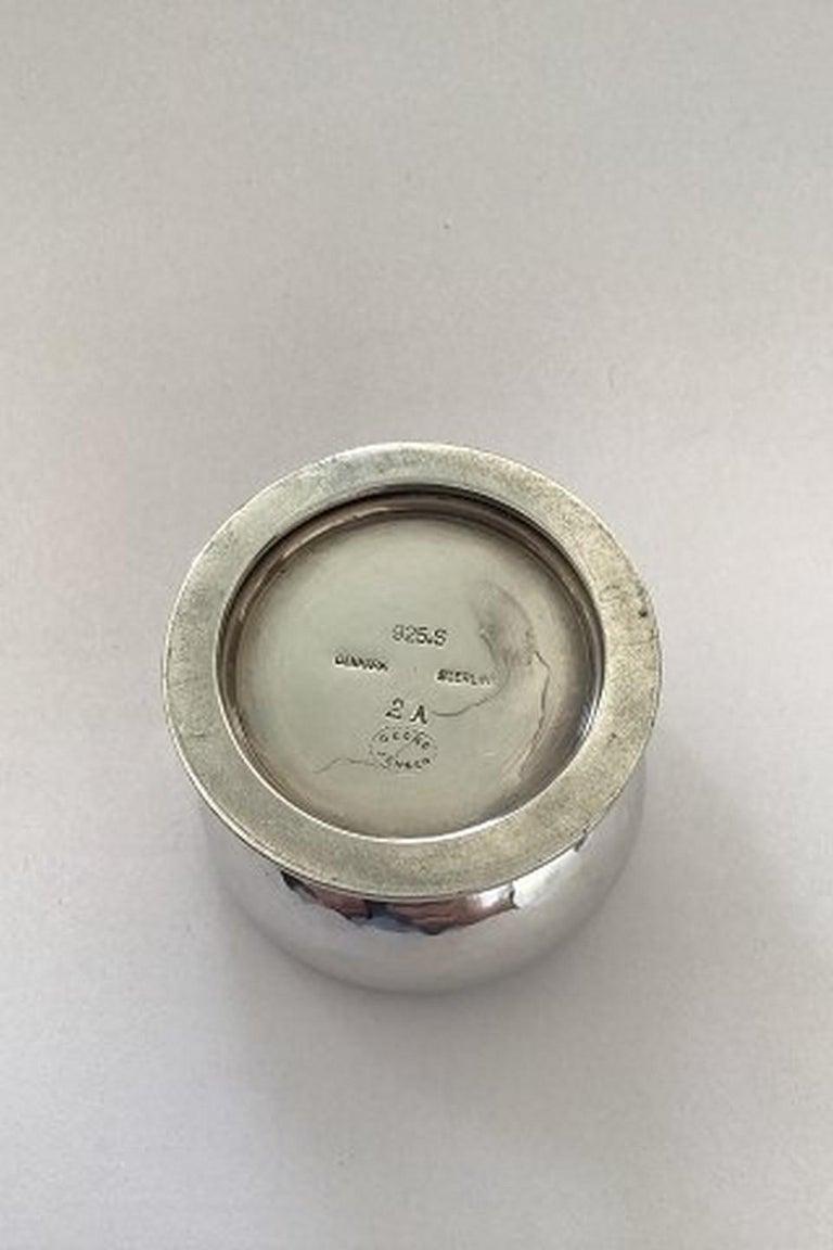 Danish Georg Jensen Blossom Sterling Silver Salt Cellar No 2A 'Green' For Sale