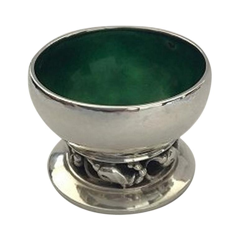 Georg Jensen Blossom Sterling Silver Salt Cellar No 2A 'Green' For Sale