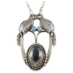 Georg Jensen C1904-1908 #4 Silver Opal and Labradorite Cabochon Pendant Necklace