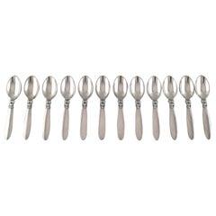 """Georg Jensen """"Cactus"""" Cutlery in Sterling Silver, Set of 12 Large Teaspoons"""