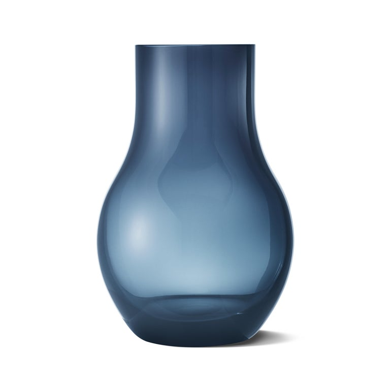 Modern Georg Jensen Cafu Small Vase in Blue Glass by Holmbäck Nordentoft For Sale