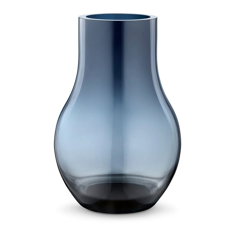 Turkish Georg Jensen Cafu Small Vase in Blue Glass by Holmbäck Nordentoft For Sale