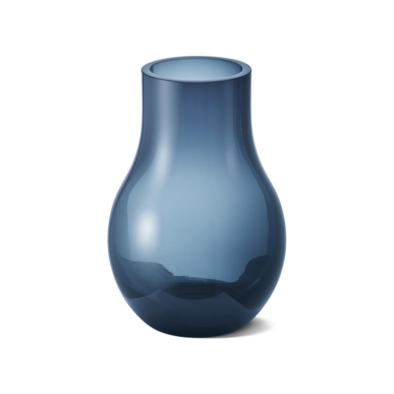 Georg Jensen Cafu Small Vase in Blue Glass by Holmbäck Nordentoft In New Condition For Sale In New York, NY