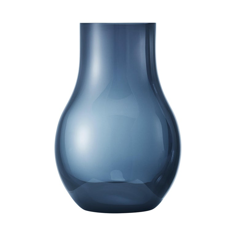 Georg Jensen Cafu Small Vase in Blue Glass by Holmbäck Nordentoft For Sale