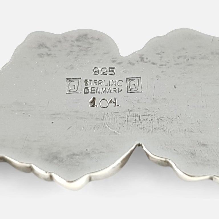 Georg Jensen Silver and Moonstone Foliate Brooch #104, circa 1933-1944 4