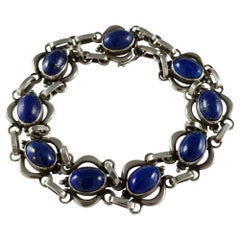 Georg Jensen circa 1933-1944 #18 Silver and Lapis Lazuli Cabochon Bracelet