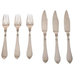 Georg Jensen Continental 'Antik' Sterling Silver, 3 Set of Fish Cutlery