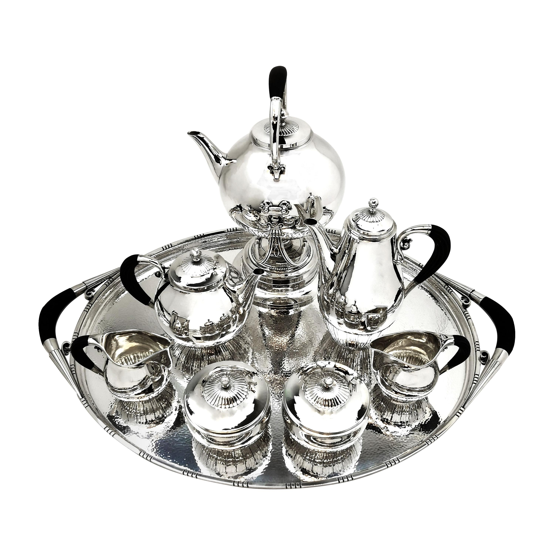 Georg Jensen Cosmos Sterling Silver 8 P Tea & Coffee Set 1920, 45 Tray Denmark