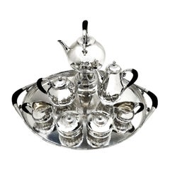 Georg Jensen Cosmos Sterling Silver 8 P Tea & Coffee Set 1920, 45 Tray Denmark