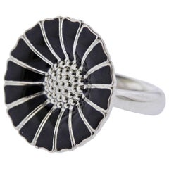 Georg Jensen Daisy Black Enamel Sterling Silver Ring