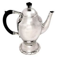 Georg Jensen Danish Silver Arts & Crafts Coffee Pot, circa 1920, Denmark