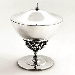 Georg Jensen Danish Silver Dish & Cover / Lidded Bowl  c. 1945 - 77