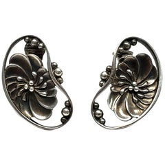 Georg Jensen Denmark Sterling Silver #52 Flower Bean Clip-On Earrings