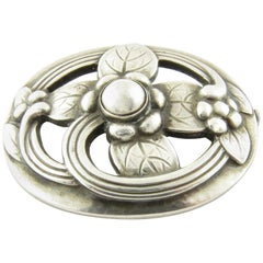 Georg Jensen Denmark Sterling Silver Flower Pin Brooch #138