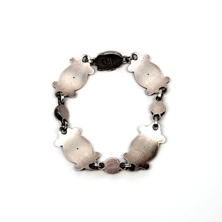 Georg Jensen Denmark Sterling Silver Moonlight Blossom Bracelet In Good Condition For Sale In New Milford, CT