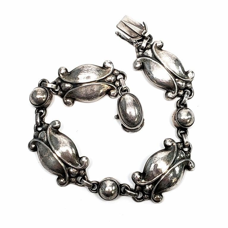Georg Jensen Denmark Sterling Silver Moonlight Blossom Bracelet For Sale 3