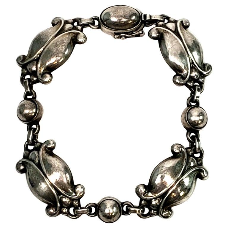 Georg Jensen Denmark Sterling Silver Moonlight Blossom Bracelet For Sale