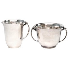 Georg Jensen Denmark Sterling Silver Open Creamer and Sugar Bowl