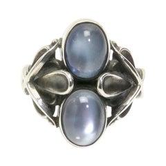 Georg Jensen Double Moonstone Sterling Silver Ring #48 Denmark Estate Find