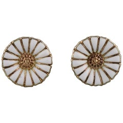 Georg Jensen Earrings in Gold-Plated Sterling Silver with White Enamel Daisies