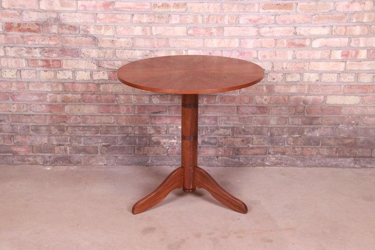 Mid-Century Modern Georg Jensen for Kubus Danish Modern Teak Pedestal Side Table, Newly Refinished For Sale