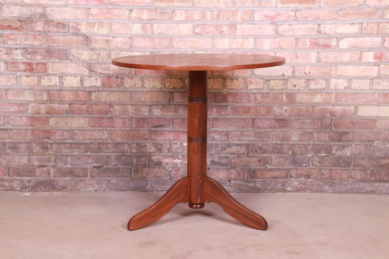 Georg Jensen for Kubus Danish Modern Teak Pedestal Side Table, Newly Refinished In Good Condition For Sale In South Bend, IN