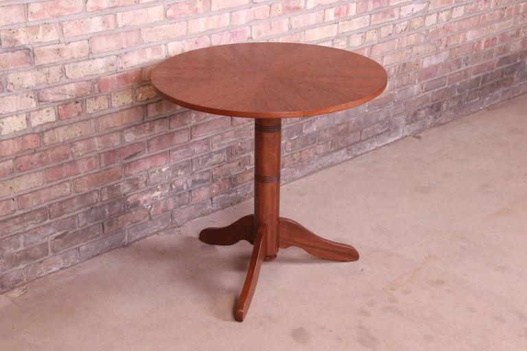 Mid-20th Century Georg Jensen for Kubus Danish Modern Teak Pedestal Side Table, Newly Refinished For Sale