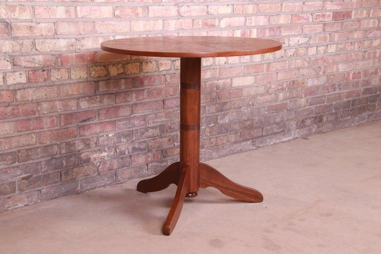 Georg Jensen for Kubus Danish Modern Teak Pedestal Side Table, Newly Refinished For Sale 1