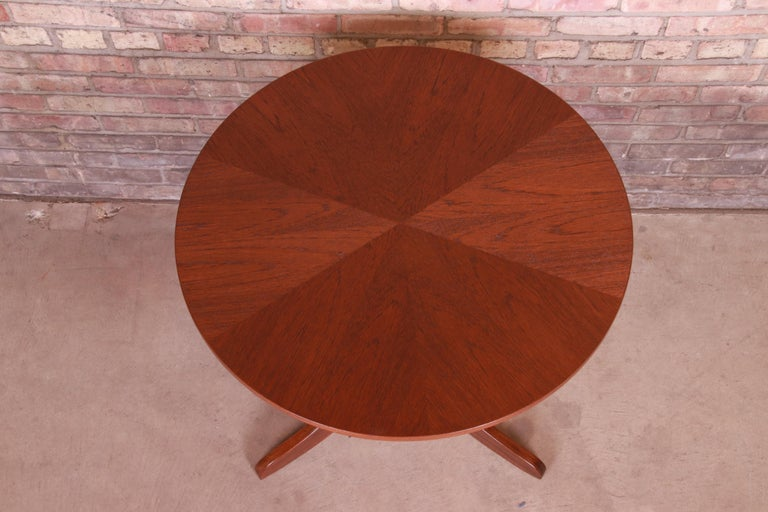 Georg Jensen for Kubus Danish Modern Teak Pedestal Side Table, Newly Refinished For Sale 2