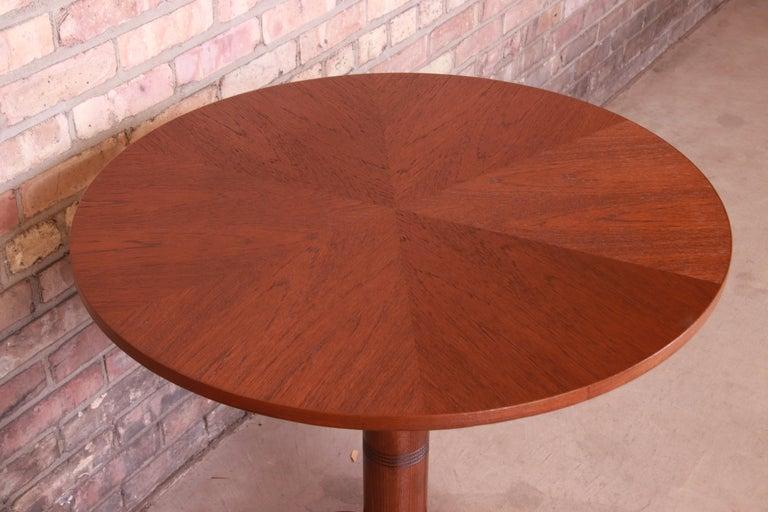 Georg Jensen for Kubus Danish Modern Teak Pedestal Side Table, Newly Refinished For Sale 3