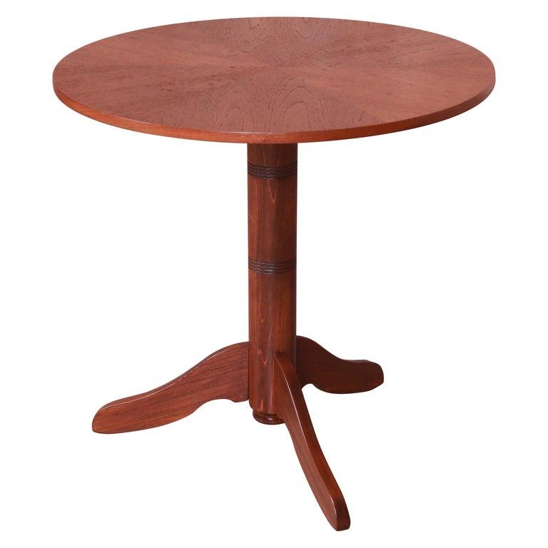 Georg Jensen for Kubus Danish Modern Teak Pedestal Side Table, Newly Refinished For Sale