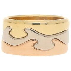 Georg Jensen Fusion Puzzle Ring Set in 18 Karat Tri-Colored Gold
