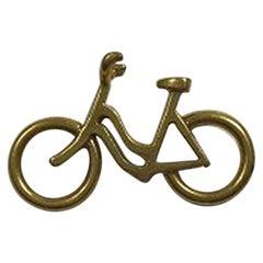 Georg Jensen Gilt Brass Woman's Bicycle Pendant