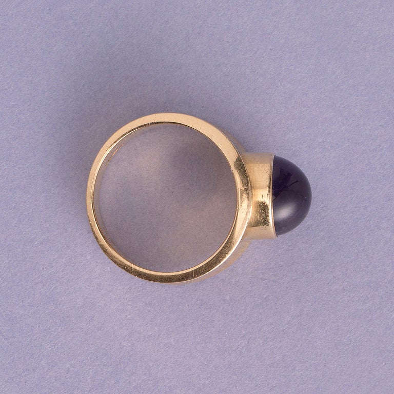Cabochon Georg Jensen Gold and Amethyst Ring For Sale