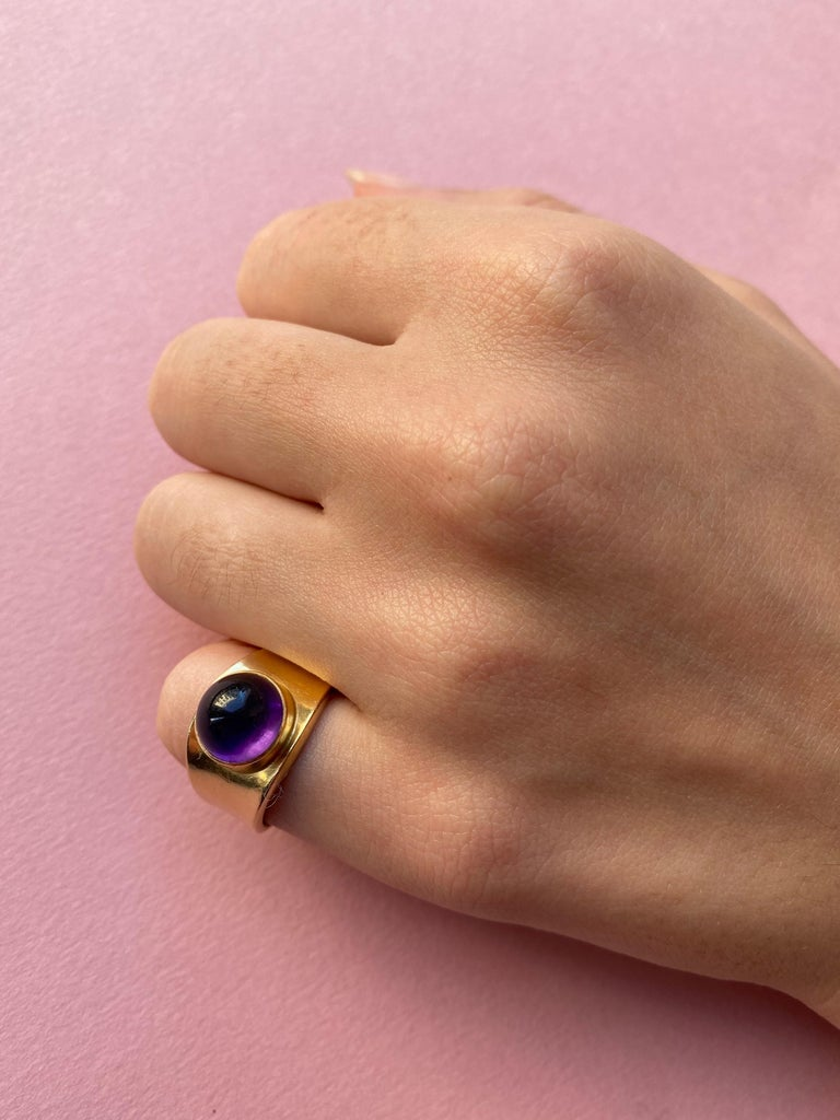 Georg Jensen Gold and Amethyst Ring In Excellent Condition For Sale In Amsterdam, NL