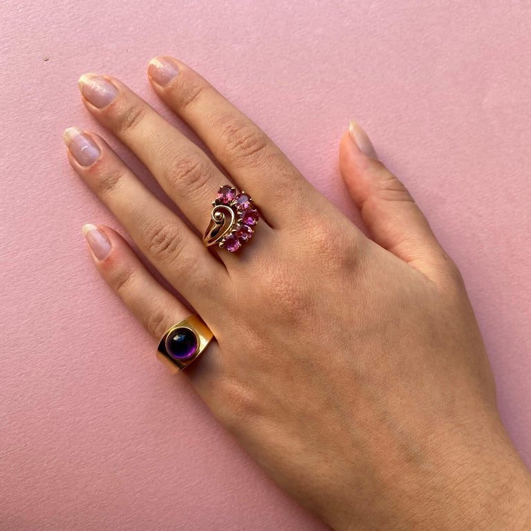 Women's or Men's Georg Jensen Gold and Amethyst Ring For Sale