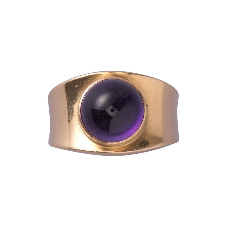 Georg Jensen Gold and Amethyst Ring For Sale