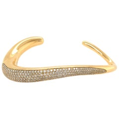 Georg Jensen Gold and Diamond Cuff Bracelet